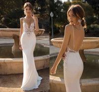 2019 Custom Made Berta Mermaid Backless Wedding Dresses Plun...
