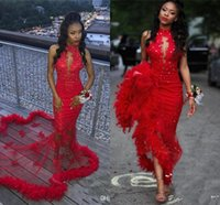 Sexy Red Mermaid Prom Dresses with Feather Vintage Lace Sequ...