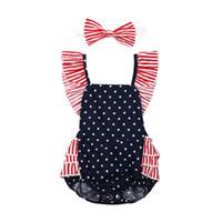 4th من يوليو الوليد الرضيع الطفل بنات رومبير ارتداءها بذلة ملابس الازياء