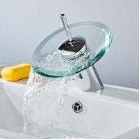Rotazione a 360 gradi Bagno Bagno in vetro Cascata rubinetto rubinetto bagno caldo e freddo miscelatore rubinetto in ottone cromato rubinetto rubinetto