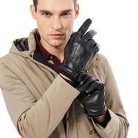 Homens Genuine Sheepskin luvas de couro outono inverno quente touch screen dedo preto luvas pretas de alta qualidade
