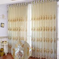 Bordado floral clássico da sala de visitas 50% das cortinas de tela da janela do bordado terminado personalizado