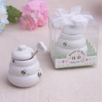 Inicio originalidad Bee Honey Pot fiesta de cumpleaños Utensilios de cocina Ollas condimento regalos de la ceremonia de boda de cerámica de miel Herramientas tarro de cocina TA538