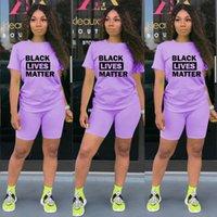 여성 반바지 운동복 블랙 삶 물질 문자 인쇄 두 조각 세트 T 셔츠 + 반바지 의상 여름 스포츠 정장 홈 의류 GGA3503-1