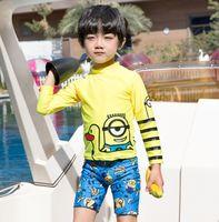 Summer Boys Swimsuits Kids Anime Impreso Traje de baño Niños Raya de dibujos animados de manga larga Split Natación Niños Buceo Traje Y1353