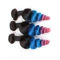 H # 1b Blau Rosa Ombre peruanischen Menschenhaar-Tressen Doppel 3pcs lösen Welle Drei Ton Ombre Menschliches Haar Bundles Angebote Wellig Jungfrau-Haar-Webart