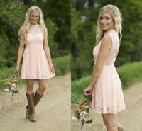 Cheap страна короткие платья невесты платья blush blowh blows розовый без рукавов над домохозяйственными платьями на домого домохозяйства кружевные горничные платья вечеринки