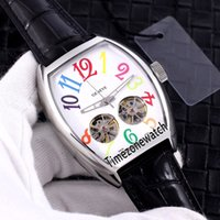 جديد اليخوت الطليعة V45 الصلب حالة الأبيض الهاتفي اللون مارك التلقائي توربيون مزدوج الرجال ووتش جلدية سوداء الساعات timezonewatch E50b2