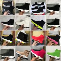 Kutu 2021 Yeni Üçlü-S Eğitmen Moda Ayakkabı Çorap En Kaliteli Üçlü Oreo Tüm Siyah Kırmızı Düz Eğitmen Erkekler Kadınlar Koşu Ayakkabıları Spor