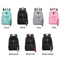 Donna Zaino USB carica lettere di modo stampa borsa scuola sacchetto adolescente ragazze nastri femminili brevi zaini