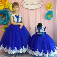 2020 Robe royale Blue Ball robe filles Pageant Robes De Jewel Coffret Bow Tulle Enfant Canne Anniversaire Robes Fleur Robe Pour Mariages