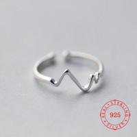 جودة عالية 925 الفضة الاسترليني الدائري الحب ECG شخصية موجات قابل للتعديل الإناث حلقات حجم واحد يناسب جميع الصين مصنع منخفض السعر بالجملة
