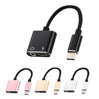 2 en 1 USB-C a 3,5 mm Jack Auriculares Aux Audio cargador USB Splitter C Adaptador Para Iphone11 Galaxy Nota 10 / S20 / S20Plus