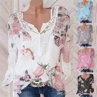 مصمم الأزياء ذو الأكمام الطويلة يرتدي رقبة الخريف في قمم ملابس الشوارع الزهرية الصيفية نساء (شيفون تشيرت)