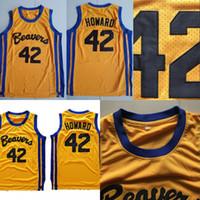 Erkek Teen Wolf Beavers 42 Scott Howard Altın 100% Dikişli Film Basketbol Formaları S-XXXL Toptan Mix Sipariş Hızlı Kargo