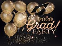 2020 fiesta de graduación Banner vinilo fotografía telones de fondo sombreros cinta oro globos de aire negro Photo Booth fondos para estudiantes Studio Pr