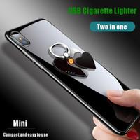 USB Hot recharge allume-cigare Amour téléphone portable Support de charge Briquet Personnalisées coupe-vent en métal Accessoires fumeurs