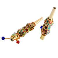 IN AZIONE mano fumo tubo di strumento di metallo narghilé Bocchino Bocca Consigli Ciondolo arabo Shisha Cranio a forma di filtro Diamond Jewelry