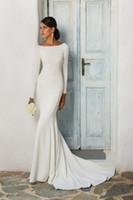 긴 소매 보트 목으로 스트레치 크레페 인어 겸손 웨딩 드레스 덮여 다시 여성 비공식적 인 소매 리셉션 가운 우아한