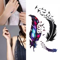 Bikini Decoration New Hot Waterproof Small Fresh Goose Feather Color Temporary Tattoos Stickers DIY Body Art Beauty Makeup