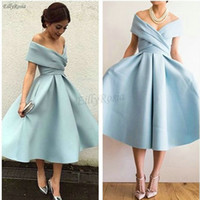 Light Blue Tea Length Prom Dresses 2019 Satin A- Line Ruched ...