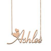 Ashlee اسم قلادة قلادة للنساء صديقة الهدايا مخصص اللوحة الأطفال أفضل الأصدقاء والمجوهرات 18K الذهب مطلي الفولاذ المقاوم للصدأ