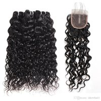 G Brazilian Deep Loose Water Wave 3 4bundles With Lace Closure 8 -28 &Quot ;Straight Human Hair Bundles With Closure