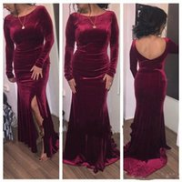 Burgundy Long Sleeve Prom Dresses Scoop Neck Backless Sweep ...