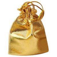 25pcs 졸라 매는 끈 부직포 라부 쥬얼리 호의 결혼식 사탕 선물 파우치 가방 (골든)