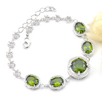 Luckyshine For Women Silver Color Bracelets Retro Round Gree...