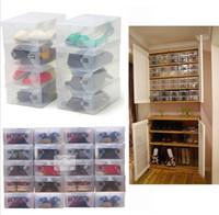 Yüksek Kalite 10 adet / grup Katlanabilir Plastik Ayakkabı Saklama Kutusu Kutuları Istiflenebilir Organizatör Ayakkabı Tutucu sepet Kolay DIY 0404