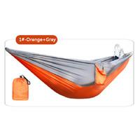 106 * 55inch pieghevole esterno Hammock campo Camping paracadute panno altalena appesa letto Nylon Amaca con corde Moschettoni 9 colori DBC DH1339