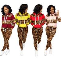 Frauen Leopard Panelled Anzug Hoodie Langarm-Patchwork mit Kapuze Pullover Tops Hosen Hosen Zwei Stücke Outfits Set-Sport-Klage LJJA3177