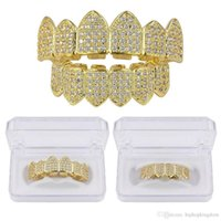 Hip Hop Kupfer TeethGrillz Set Micro Gepflasterte Kubikzircon Top Bottom Teeth Grillz Drop Shipping K5200