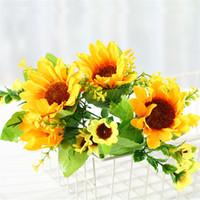 Fleur Simulé environnement maison décoration tournesol tournesol fausse fleur accessoires de photographie de fête de mariage artificielle T3I5803 de tournesol