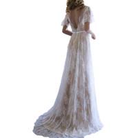 Vinatge encaje vestido de novia A-line cuello en V espalda baja manga corta vestidos de novia largo verano boda desgaste robe de mariee boheme