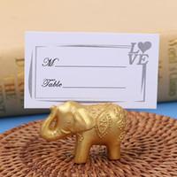 Złoty Lucky Elephant Place Plactwa Uchwyt Posiadacza Nazwa Numer Tabela Place Wedding Favor Prezent Unikalny Party Favor
