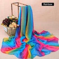 gran gasa del tamaño gradiente de la manera de color del arco iris señora gasa bufanda cabeza del cuerpo de seda bufandas chales hijab bufanda pañuelo