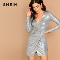 SHEIN Silver Deep V Neck Twist Front Surplice Wrap Metallic Guaina manica lunga Short Dress Women Going Out Autumn Dress