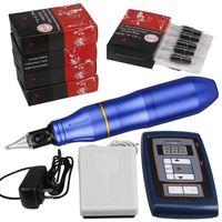 Permanente maquiagem híbrido Tattoo Pen Rotary Tattoo Machine Kit Digital Pé de Alimentação Pedal 50pcs Silicone Needle Cartuchos