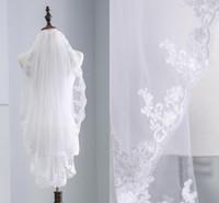 2021 الإصبع أنيق طول الزفاف الحجاب للعروس مع مشط طبقة واحدة الرباط زين ruched الزفاف الحجاب البلد شاطئ فستان الزفاف