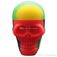 5pcs / lot 15 ml contenants de crâne couleur assortie contenant en silicone pour Dabs forme ronde contenants en silicone cire pots en silicone Dab conteneurs
