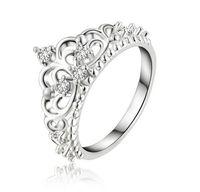 anillo de bodas de plata de la joyería temperamento exquisito encanto del zircon joyería de plata anillo de cristal corona