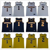 NCAA Michigan Wolverines Colégio # 1 Charles Matthews # 2 Jorda Poole 5 Jersey Jalen Rose Universidade Mens Basketball Jersey S-3XL