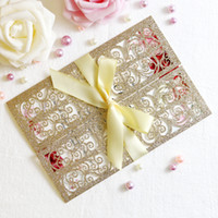 New Arrival Gold Glitter Laser Cut Invitation Cards With Rib...