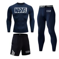 4XL Compression Sets Survêtement Marvel Hommes Sport Courir Ensemble Costume Jogging Rashgard Gym Vêtements Hommes Fitness Tight d'entraînement