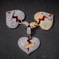 Designer der Frauen der Männer Hip Hop Hiphop-Anhänger-Halskette Zircon Iced Out Herz-Anhänger Halsketten arbeiten Defektes Herz-Verband-Halsketten-Schmuck