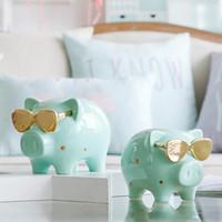 1 pieza fresca caja de dinero de hucha cerdo estatua caja de monedas por dinero regalo de cumpleaños para los niños creativos Inicio ornamento decoración
