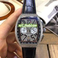 Новый красавец Мужские наручные часы Алмазный Face Часы стали Алмазный корпус часов кожаный ремешок Часы Многофункциональный Кварцевые часы движение