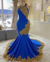 Azul real y oro apliques Prom Vestidos vestido de noche largo 2020 Atado al cuello de raso trompeta de la sirena del vestido de noche del desgaste de la madre de la novia